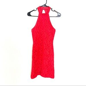 Vintage Red Lace High Neck Mini Dress Juniors 9/10
